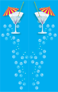 Blue Cocktail Umbrella Bookmark