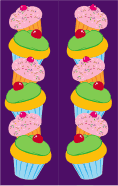 Cupcakes Purple Bookmark