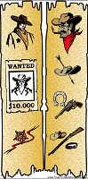 Western Bookmark with Sheriff