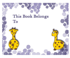 Giraffe Bookplates bookmark