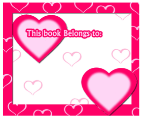 Pink Heart Bookplates bookmark