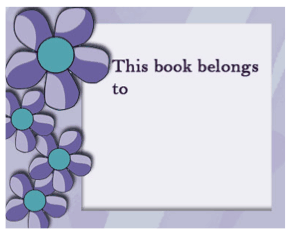 Purple Flower Bookplates bookmark