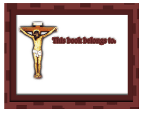 Religious Bookplate Crucifix bookmark